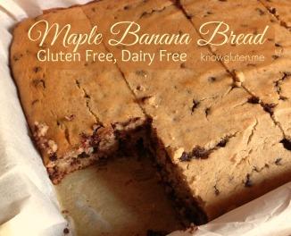 Gluten Free, Dairy Free, Maple Banana Bread from knowgluten.me - Easier to make than pancakes! Great breakfast idea!