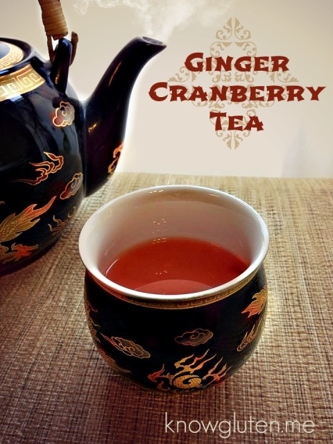 Ginger Cranberry Tea- help cure bloating and indigestion from holiday over-eating {knowgluten.me}